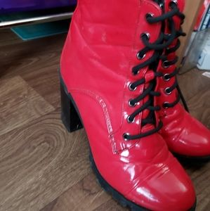 Red platform heels booties